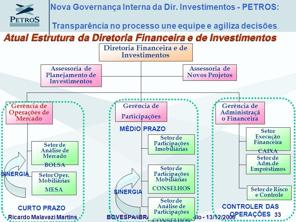 Ricardo Malavazi MartinsBOVESPA/IBRADEMP – São Paulo - 13/12/2006 33 Assessoria de Planejamento de Investimentos Assessoria de Novos Projetos Diretori