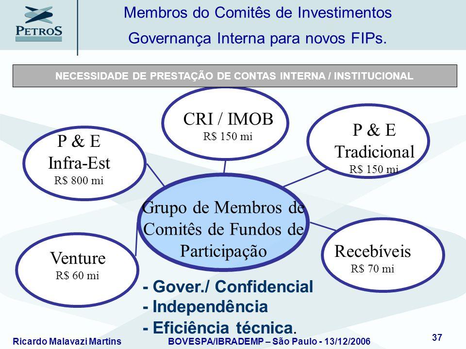 Ricardo Malavazi MartinsBOVESPA/IBRADEMP – São Paulo - 13/12/2006 37 Grupo de Membros de Comitês de Fundos de Participação Venture R$ 60 mi P & E Infr