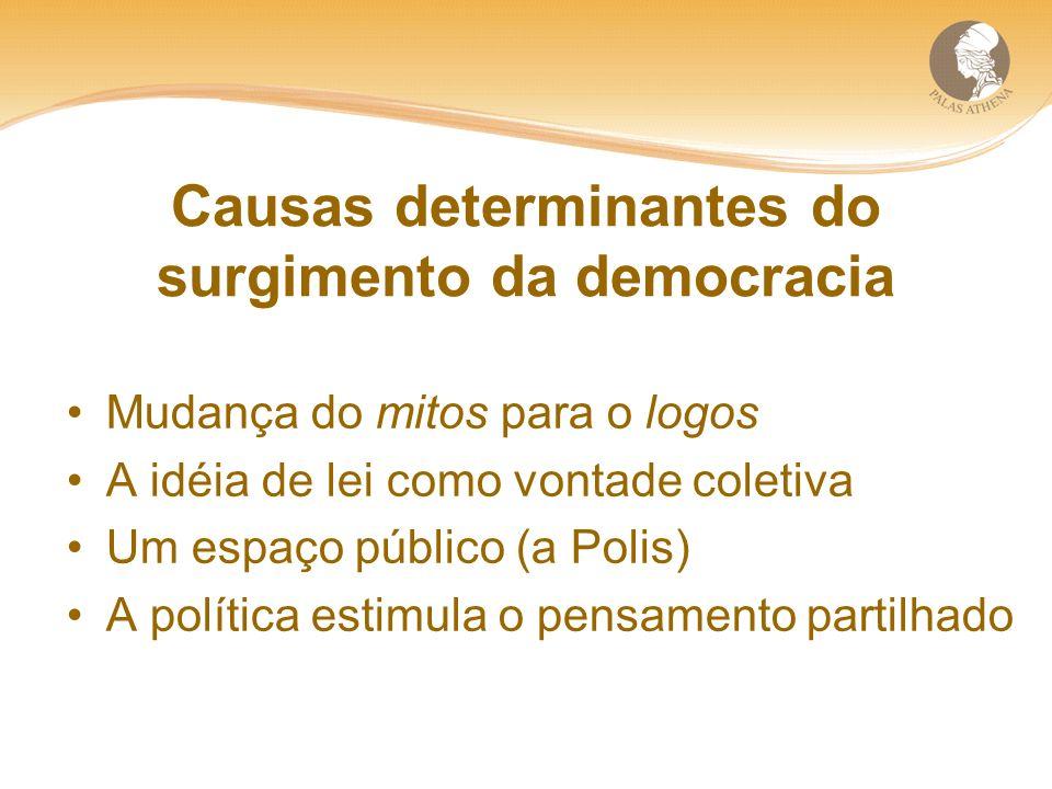 Causas determinantes do surgimento da democracia Mudança do mitos para o logos A idéia de lei como vontade coletiva Um espaço público (a Polis) A política estimula o pensamento partilhado
