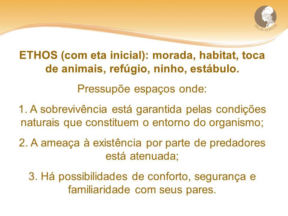 ETHOS (com eta inicial): morada, habitat, toca de animais, refúgio, ninho, estábulo.