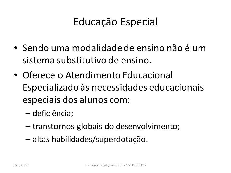 Educação Especial Sendo uma modalidade de ensino não é um sistema substitutivo de ensino. Oferece o Atendimento Educacional Especializado às necessida