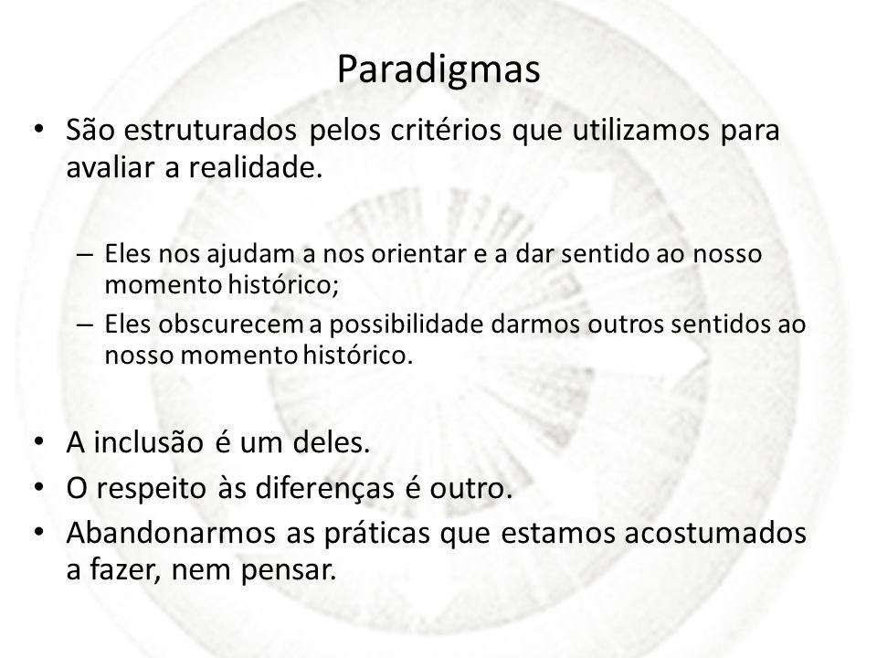 Paradigmas São estruturados pelos critérios que utilizamos para avaliar a realidade. – Eles nos ajudam a nos orientar e a dar sentido ao nosso momento