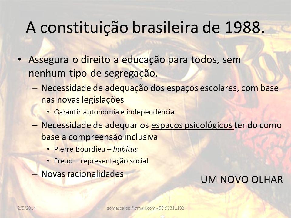 A constituição brasileira de 1988. Assegura o direito a educação para todos, sem nenhum tipo de segregação. – Necessidade de adequação dos espaços esc