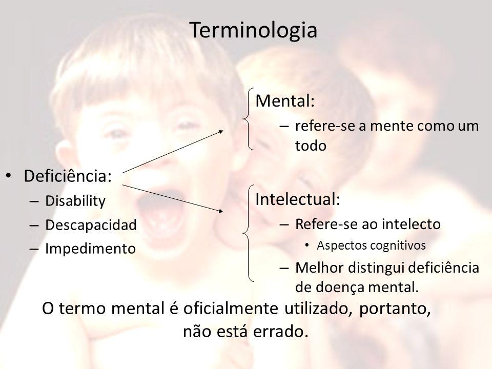 Terminologia Deficiência: – Disability – Descapacidad – Impedimento Mental: – refere-se a mente como um todo Intelectual: – Refere-se ao intelecto Asp