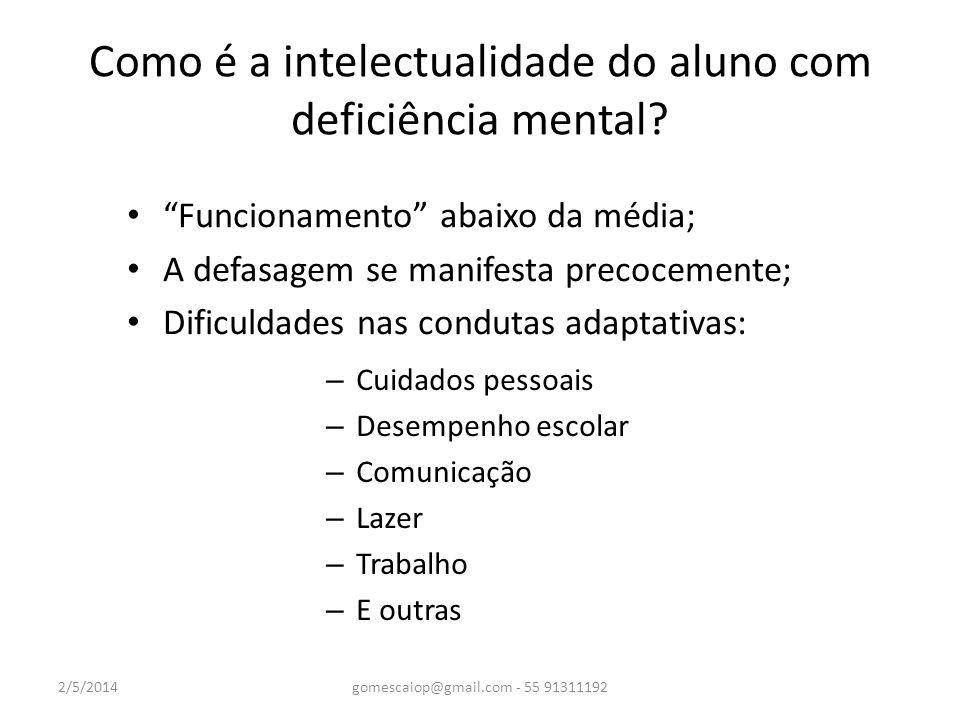 Como é a intelectualidade do aluno com deficiência mental? – Cuidados pessoais – Desempenho escolar – Comunicação – Lazer – Trabalho – E outras 2/5/20