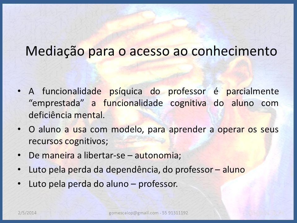 Mediação para o acesso ao conhecimento A funcionalidade psíquica do professor é parcialmente emprestada a funcionalidade cognitiva do aluno com defici