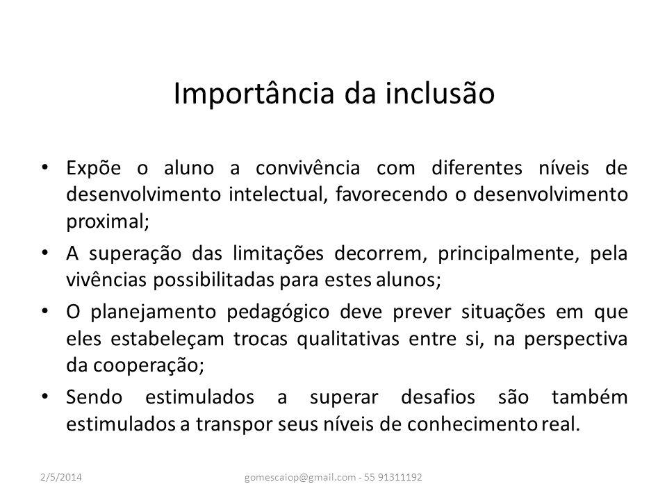 Importância da inclusão Expõe o aluno a convivência com diferentes níveis de desenvolvimento intelectual, favorecendo o desenvolvimento proximal; A su