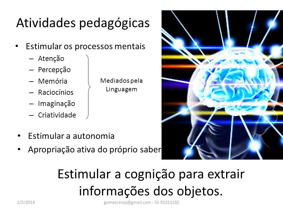 Estimular os processos mentais – Atenção – Percepção – Memória – Raciocínios – Imaginação – Criatividade Atividades pedagógicas 2/5/2014gomescaiop@gma