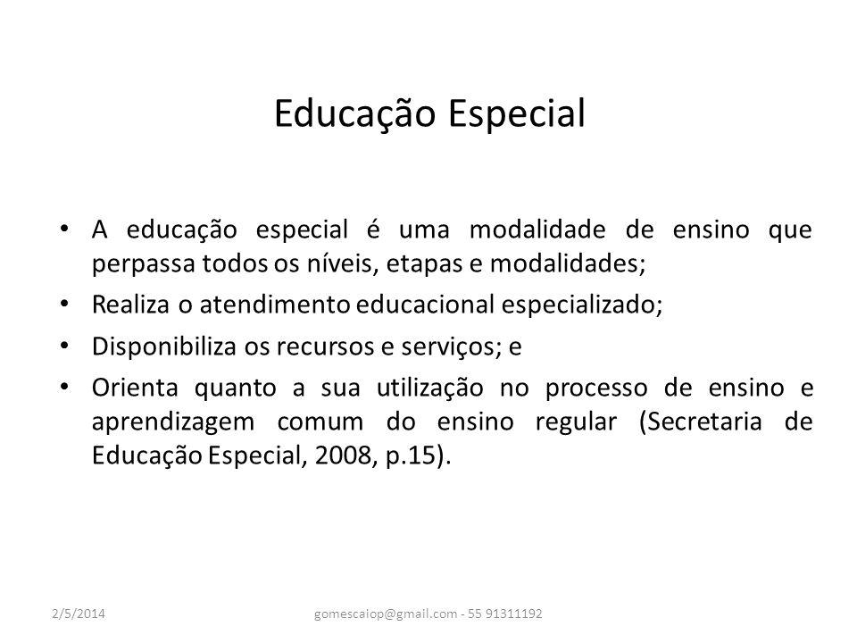 Educação Especial A educação especial é uma modalidade de ensino que perpassa todos os níveis, etapas e modalidades; Realiza o atendimento educacional