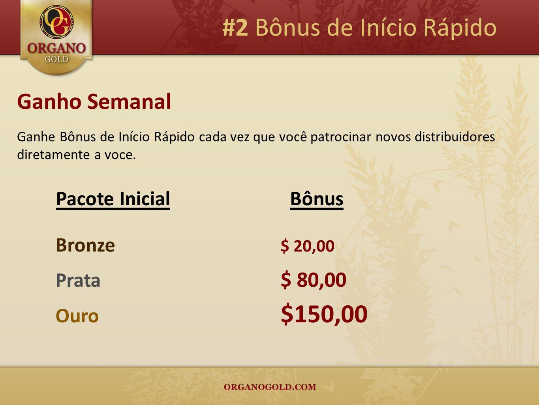 #2 Bônus de Início Rápido Ganho Semanal Ganhe Bônus de Início Rápido cada vez que você patrocinar novos distribuidores diretamente a voce. Bronze $ 20