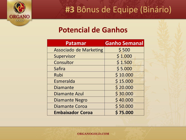 Potencial de Ganhos #3 Bônus de Equipe (Binário) PatamarGanho Semanal Associado de Marketing$ 500 Supervisor$ 1.000 Consultor$ 1.500 Safira$ 5.000 Rub