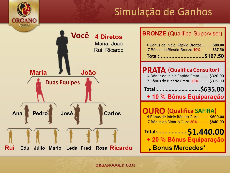 Simulação de Ganhos Você Duas Equipes JoãoMaria JoséCarlosAna Pedro Edu JúlioMárioLedaFredRosa RuiRicardo BRONZE (Qualifica Supervisor) 4 Bônus de Iní