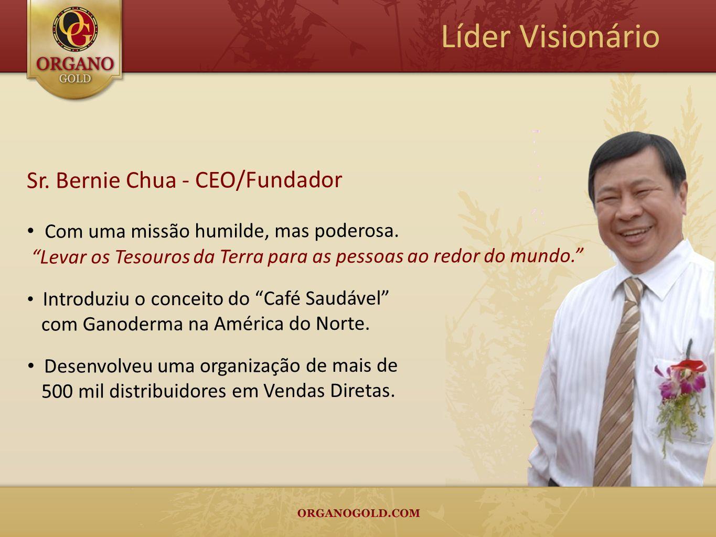 Sr. Bernie Chua - CEO/Fundador Com uma missão humilde, mas poderosa. Levar os Tesouros da Terra para as pessoas ao redor do mundo. Introduziu o concei