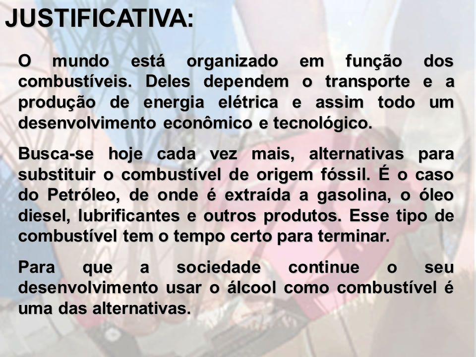 JUSTIFICATIVA: O mundo está organizado em função dos combustíveis. Deles dependem o transporte e a produção de energia elétrica e assim todo um desenv