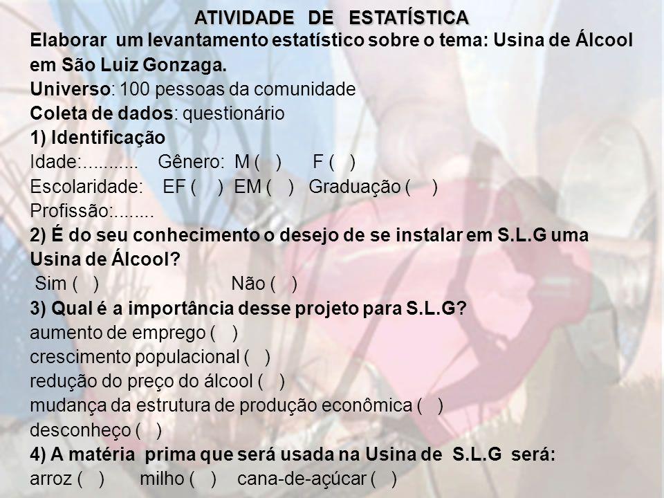 ATIVIDADE DE ESTATÍSTICA Elaborar um levantamento estatístico sobre o tema: Usina de Álcool em São Luiz Gonzaga. Universo: 100 pessoas da comunidade C