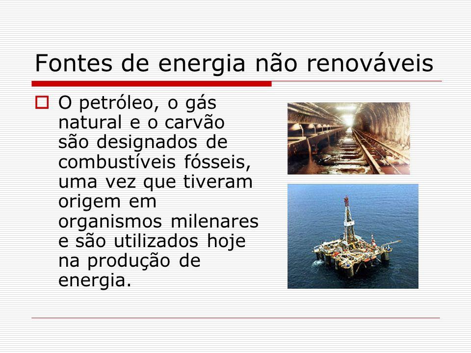 Fontes de energia não renováveis O petróleo, o gás natural e o carvão são designados de combustíveis fósseis, uma vez que tiveram origem em organismos