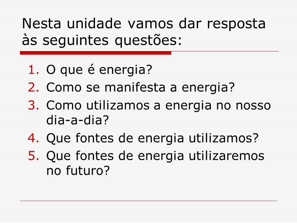 Nesta unidade vamos dar resposta às seguintes questões: 1.O que é energia? 2.Como se manifesta a energia? 3.Como utilizamos a energia no nosso dia-a-d