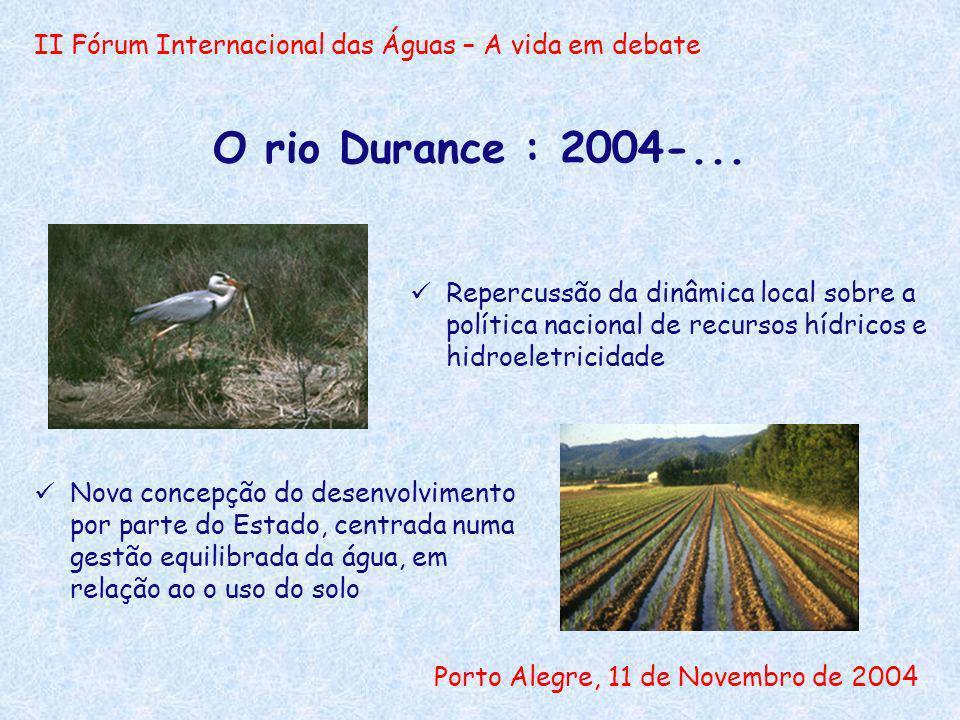 II Fórum Internacional das Águas – A vida em debate Porto Alegre, 11 de Novembro de 2004 O rio Durance : 2004-... Repercussão da dinâmica local sobre