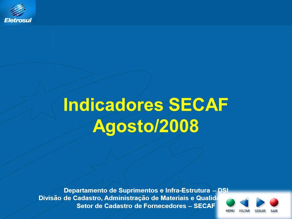 Indicadores SECAF Agosto/2008 Departamento de Suprimentos e Infra-Estrutura – DSI Divisão de Cadastro, Administração de Materiais e Qualidade – DCAQ Setor de Cadastro de Fornecedores – SECAF