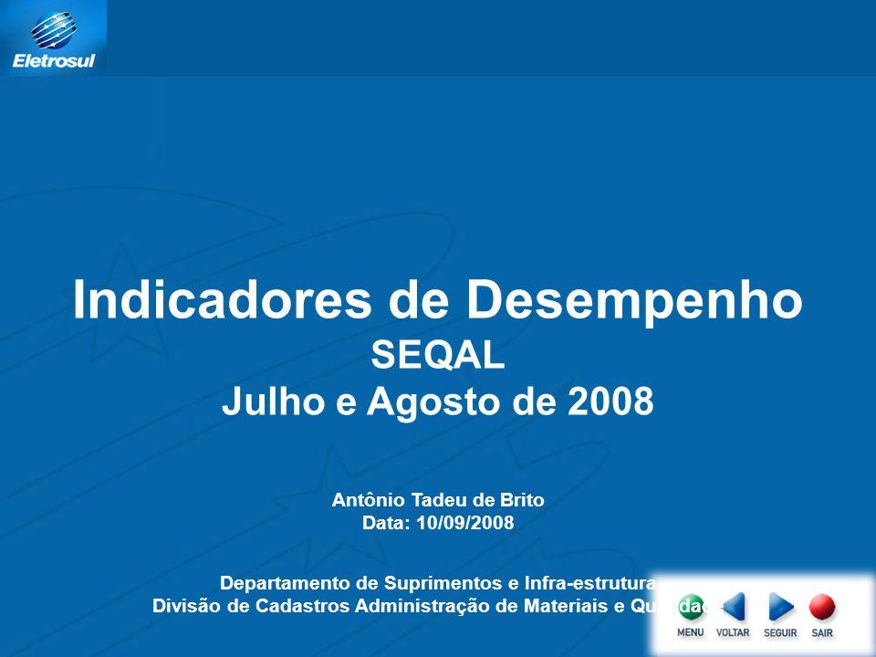 Indicadores de Desempenho SEQAL Julho e Agosto de 2008 Antônio Tadeu de Brito Data: 10/09/2008 Departamento de Suprimentos e Infra-estrutura Divisão de Cadastros Administração de Materiais e Qualidade