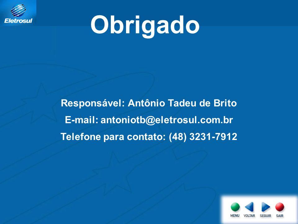 Obrigado Responsável: Antônio Tadeu de Brito E-mail: antoniotb@eletrosul.com.br Telefone para contato: (48) 3231-7912