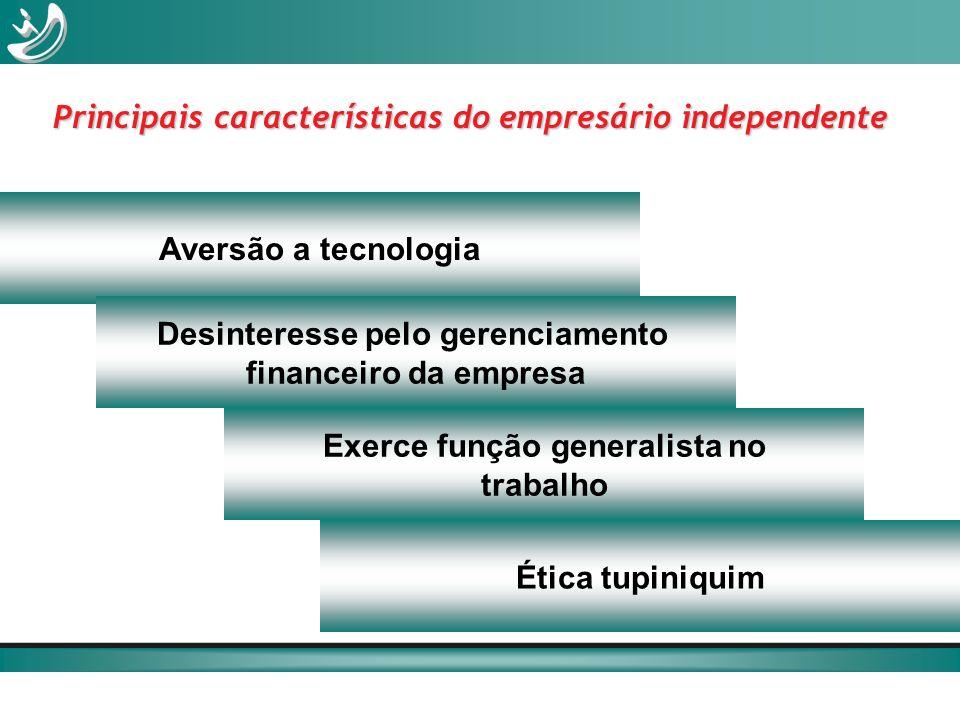 Aversão a tecnologia Desinteresse pelo gerenciamento financeiro da empresa Ética tupiniquim Exerce função generalista no trabalho Principais caracterí