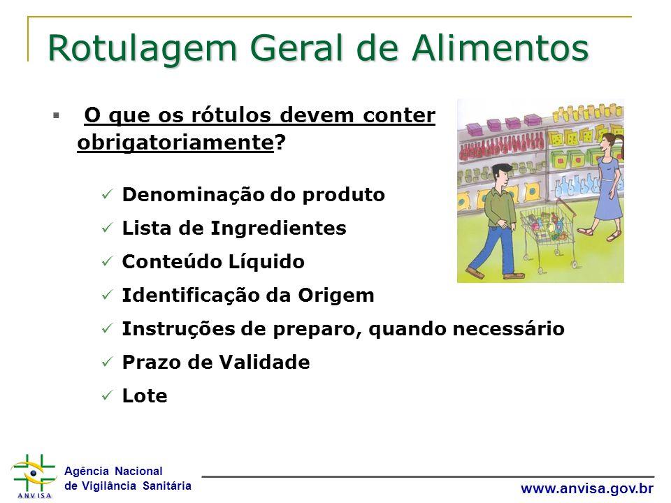 Agência Nacional de Vigilância Sanitária www.anvisa.gov.br Rotulagem Geral de Alimentos O que os rótulos devem conter obrigatoriamente? Denominação do