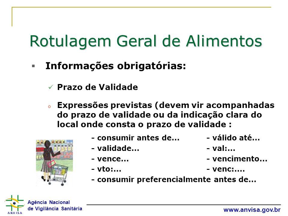 Agência Nacional de Vigilância Sanitária www.anvisa.gov.br Rotulagem Geral de Alimentos Informações obrigatórias: Prazo de Validade o Expressões previ