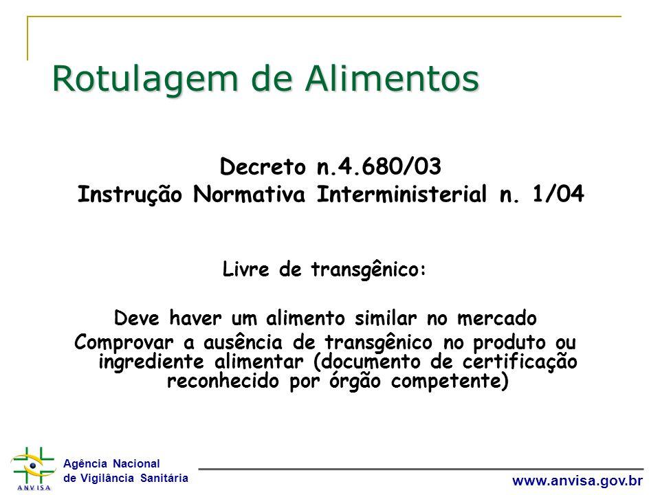Agência Nacional de Vigilância Sanitária www.anvisa.gov.br Decreto n.4.680/03 Instrução Normativa Interministerial n. 1/04 Livre de transgênico: Deve