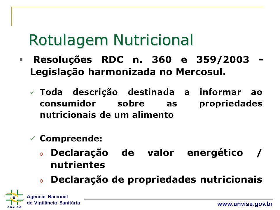 Agência Nacional de Vigilância Sanitária www.anvisa.gov.br Rotulagem Nutricional Resoluções RDC n. 360 e 359/2003 - Legislação harmonizada no Mercosul