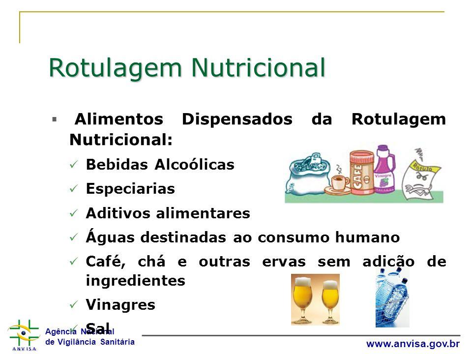 Agência Nacional de Vigilância Sanitária www.anvisa.gov.br Rotulagem Nutricional Alimentos Dispensados da Rotulagem Nutricional: Bebidas Alcoólicas Es