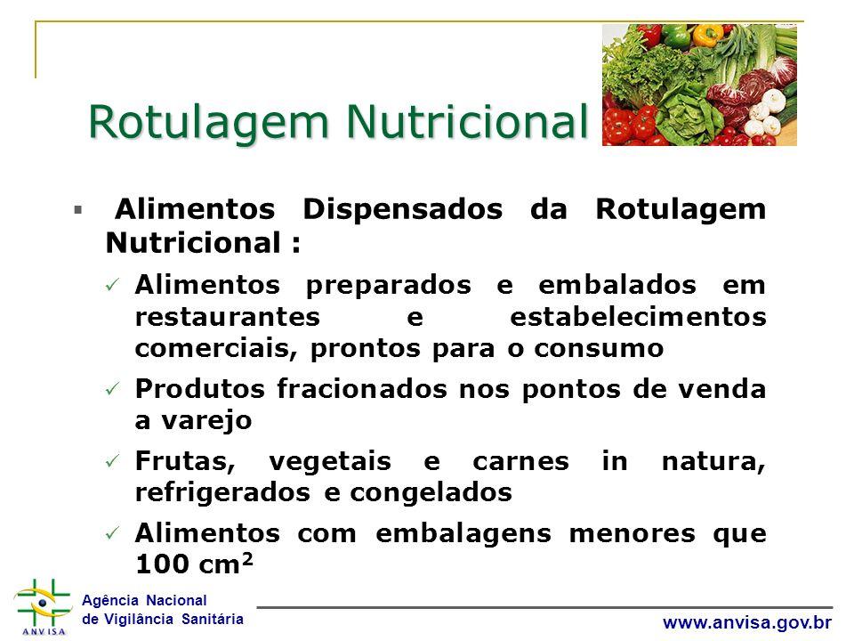 Agência Nacional de Vigilância Sanitária www.anvisa.gov.br Rotulagem Nutricional Alimentos Dispensados da Rotulagem Nutricional : Alimentos preparados