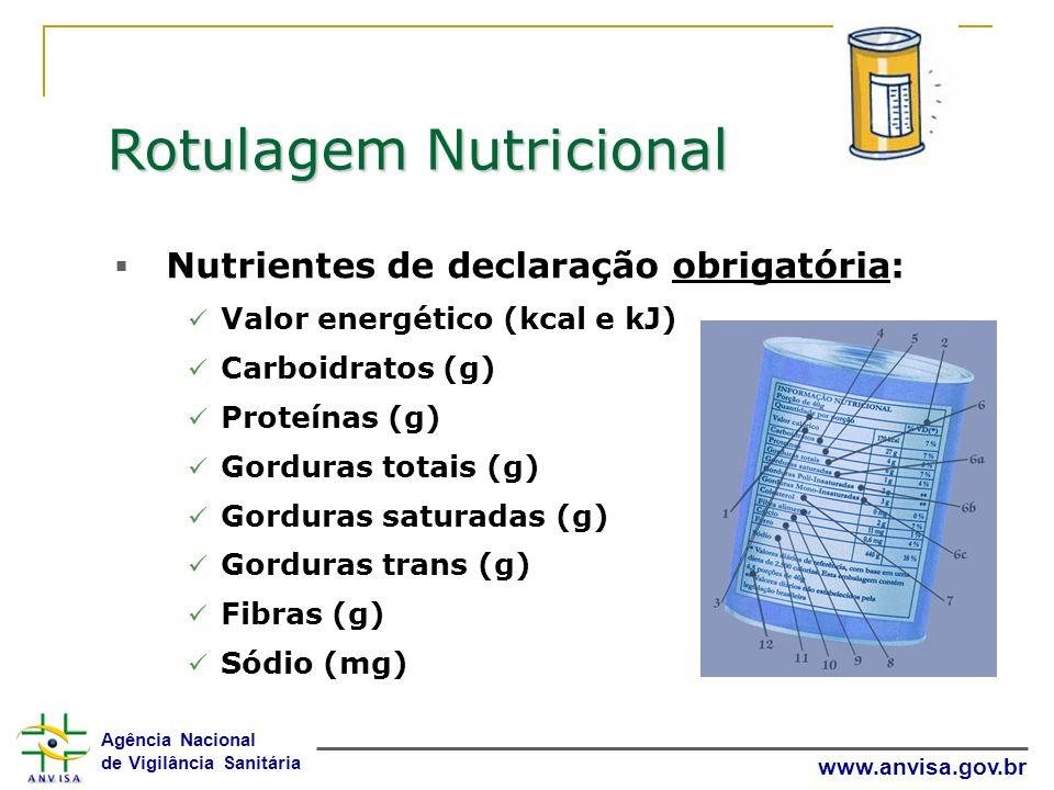 Agência Nacional de Vigilância Sanitária www.anvisa.gov.br Rotulagem Nutricional Nutrientes de declaração obrigatória: Valor energético (kcal e kJ) Ca