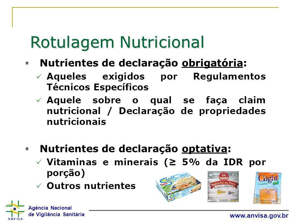 Agência Nacional de Vigilância Sanitária www.anvisa.gov.br Rotulagem Nutricional Nutrientes de declaração obrigatória: Aqueles exigidos por Regulament