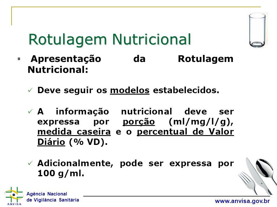 Agência Nacional de Vigilância Sanitária www.anvisa.gov.br Rotulagem Nutricional Apresentação da Rotulagem Nutricional: Deve seguir os modelos estabel
