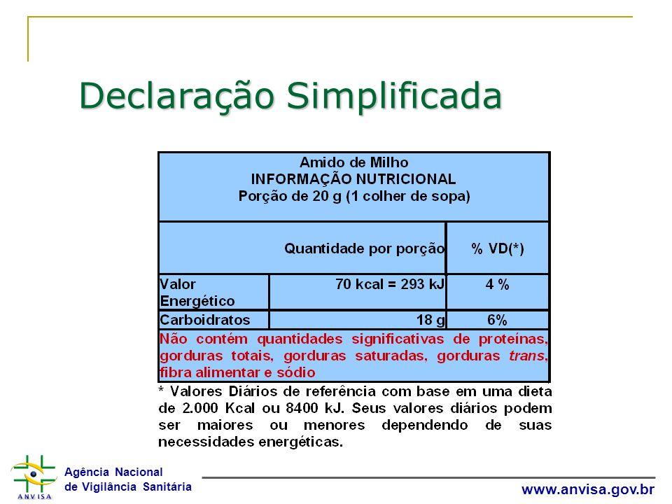 Agência Nacional de Vigilância Sanitária www.anvisa.gov.br Declaração Simplificada