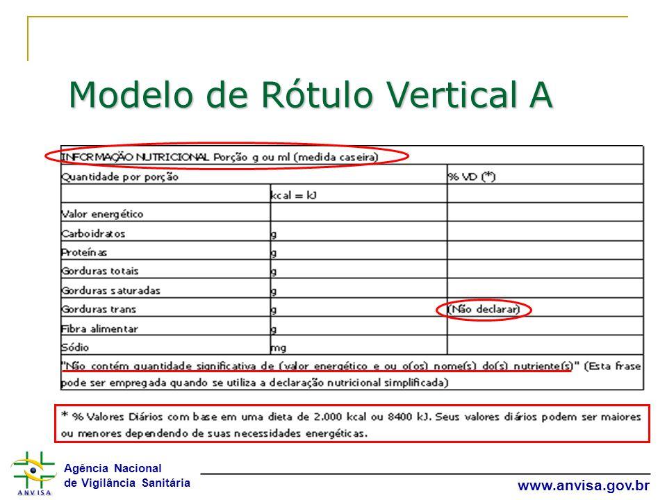 Agência Nacional de Vigilância Sanitária www.anvisa.gov.br Modelo de Rótulo Vertical A