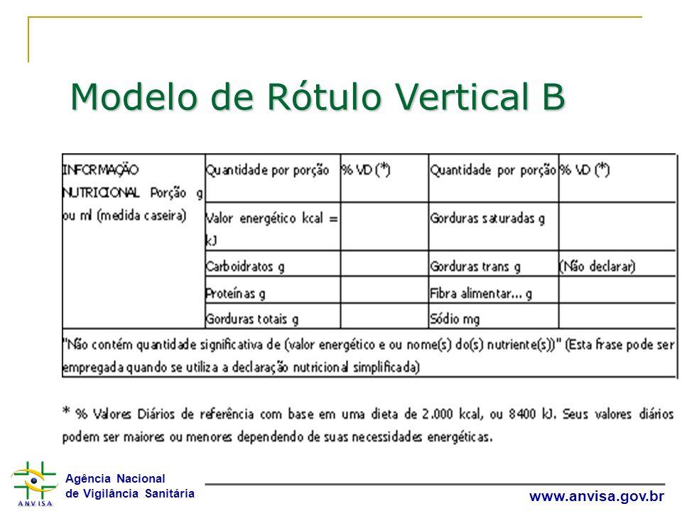 Agência Nacional de Vigilância Sanitária www.anvisa.gov.br Modelo de Rótulo Vertical B