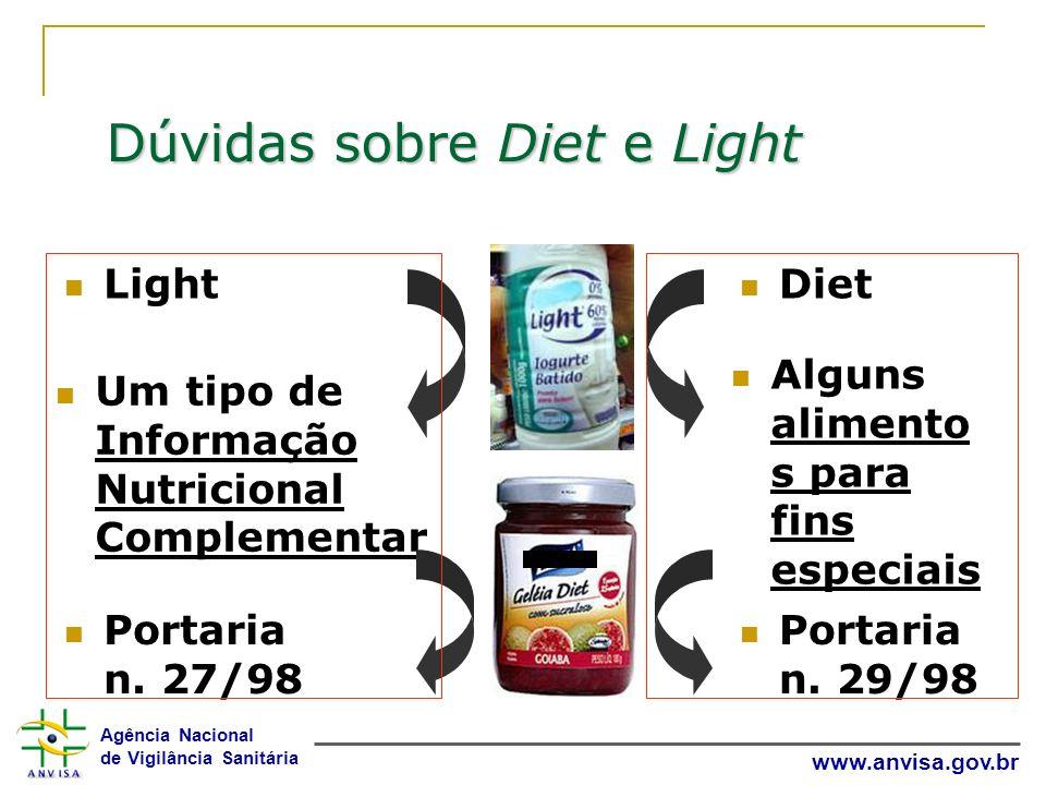 Agência Nacional de Vigilância Sanitária www.anvisa.gov.br Light Um tipo de Informação Nutricional Complementar Portaria n. 27/98 Diet Alguns alimento