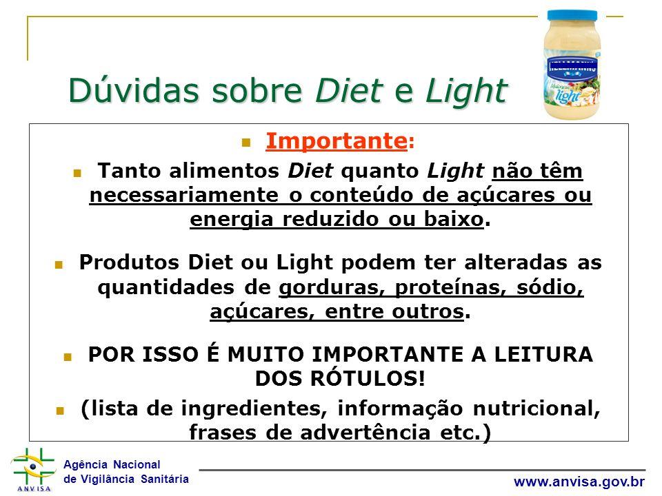Agência Nacional de Vigilância Sanitária www.anvisa.gov.br Dúvidas sobre Diet e Light Importante : Tanto alimentos Diet quanto Light não têm necessari