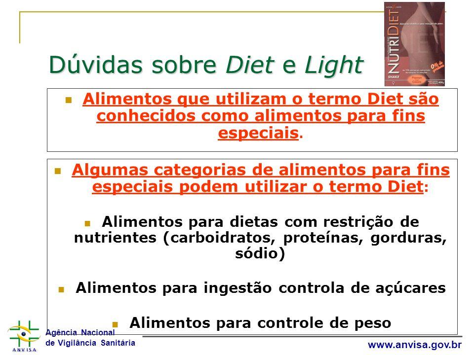 Agência Nacional de Vigilância Sanitária www.anvisa.gov.br Dúvidas sobre Diet e Light Alimentos que utilizam o termo Diet são conhecidos como alimento