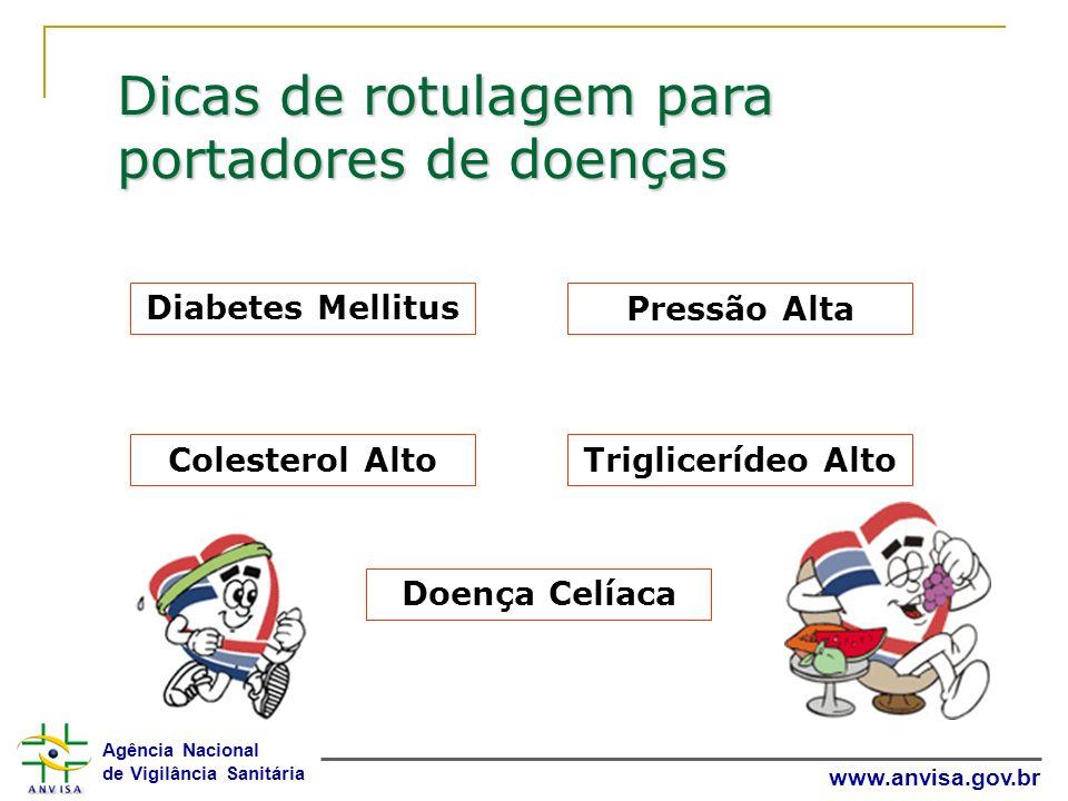 Agência Nacional de Vigilância Sanitária www.anvisa.gov.br Dicas de rotulagem para portadores de doenças Diabetes Mellitus Pressão Alta Colesterol Alt
