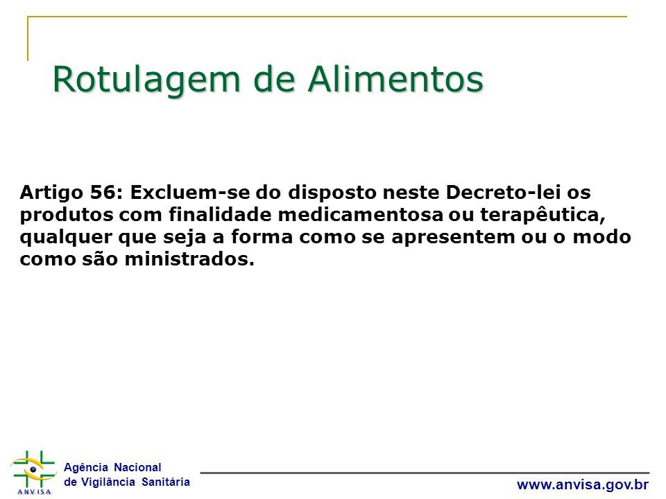 Agência Nacional de Vigilância Sanitária www.anvisa.gov.br Artigo 56: Excluem-se do disposto neste Decreto-lei os produtos com finalidade medicamentos