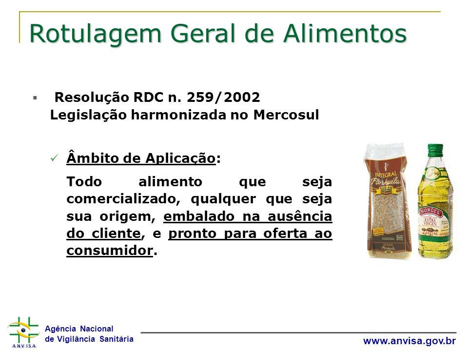 Agência Nacional de Vigilância Sanitária www.anvisa.gov.br Rotulagem Geral de Alimentos Resolução RDC n. 259/2002 Legislação harmonizada no Mercosul Â