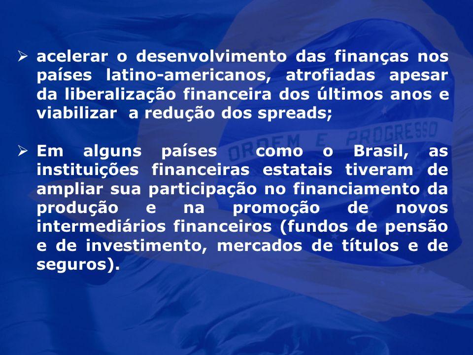 acelerar o desenvolvimento das finanças nos países latino-americanos, atrofiadas apesar da liberalização financeira dos últimos anos e viabilizar a re