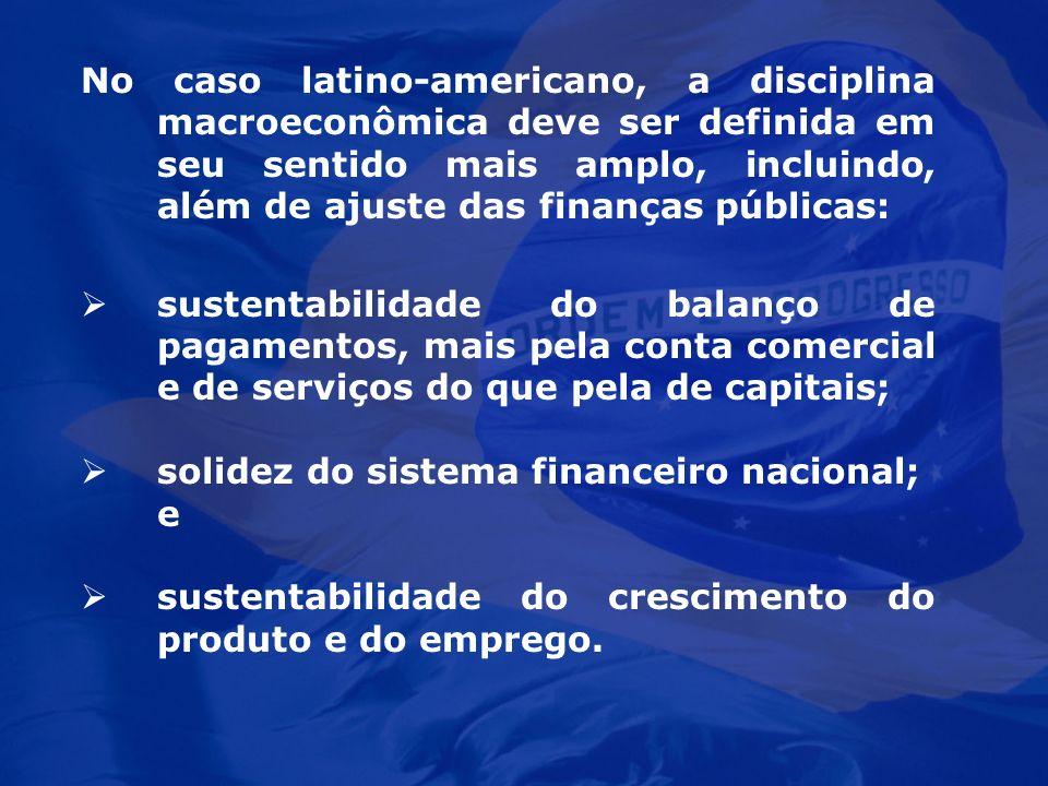 No caso latino-americano, a disciplina macroeconômica deve ser definida em seu sentido mais amplo, incluindo, além de ajuste das finanças públicas: su