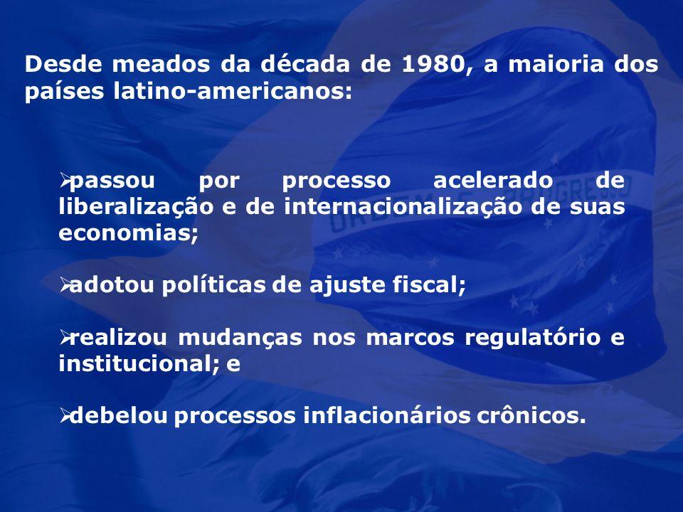 passou por processo acelerado de liberalização e de internacionalização de suas economias; adotou políticas de ajuste fiscal; realizou mudanças nos ma