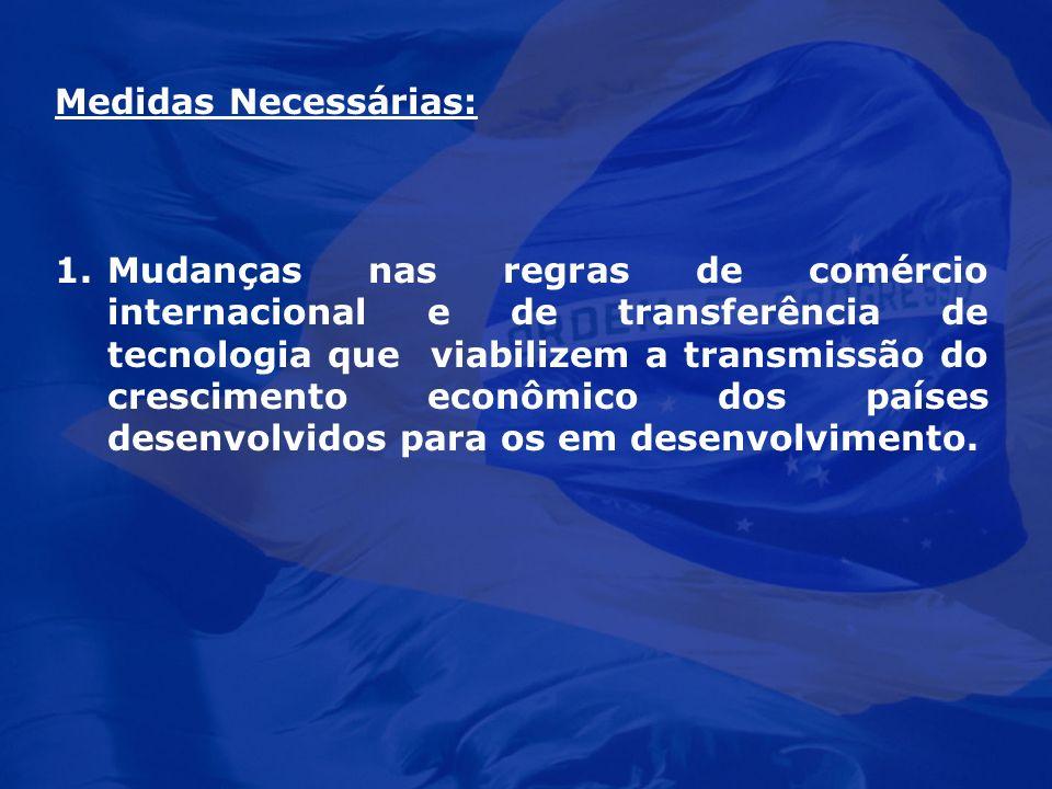 Medidas Necessárias: 1.Mudanças nas regras de comércio internacional e de transferência de tecnologia que viabilizem a transmissão do crescimento econ
