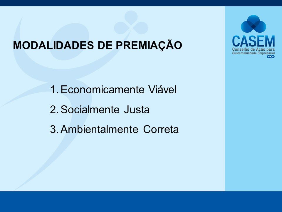 1.Economicamente Viável 2.Socialmente Justa 3.Ambientalmente Correta MODALIDADES DE PREMIAÇÃO