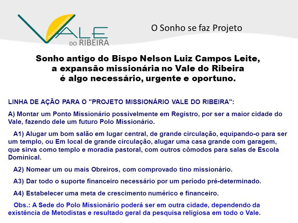 Sonho antigo do Bispo Nelson Luiz Campos Leite, a expansão missionária no Vale do Ribeira é algo necessário, urgente e oportuno. LINHA DE AÇÃO PARA O